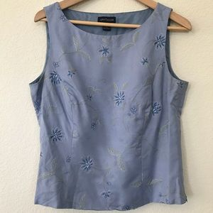Ann Taylor Embroidered Silk Tank Top sz 10